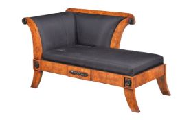 A burr olivewood and upholstered day bed