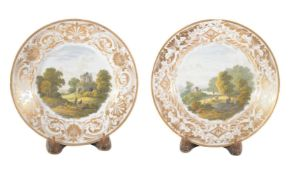 A pair of Derby plates