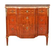 A parquetry, marquetry and gilt metal mounted commode