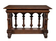 A Renaissance Revival carved walnut and serpentine marble inset centre or side table
