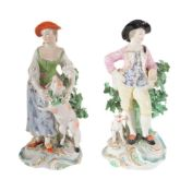 A pair of Derby figures of a shepherd and companion
