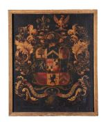 A Welsh painted and lacquered armorial panel