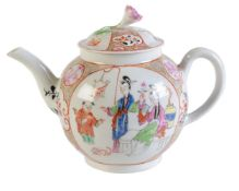 A Worcester polychrome Chinoiserie teapot and cover