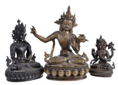 Three bronze or copper alloy figures of Bodhisattvas