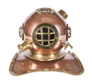 A copper and brass mounted model of a vintage diving helmet in early 20th century style