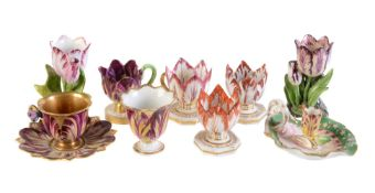 A group of Derby, Worcester and other Staffordshire porcelain tulip cups and similar