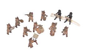 ϒ A Viennese cold painted bronze miniature bear orchestra or band