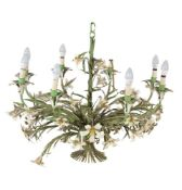 An Italian painted, pressed and wrought metal eight light chandelier