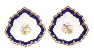 A pair of Royal Crown Derby trefoil dessert plates signed by Albert Gregory