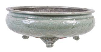 A Longquan celadon-glazed tripod bulb bowl