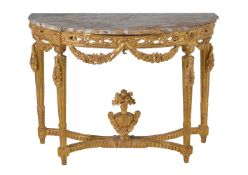A giltwood and marble topped console table