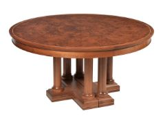 David Linley, a walnut, burr walnut and sycamore inlaid extending dining table