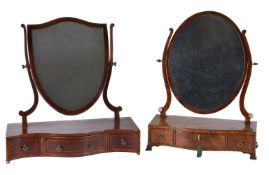 A George III mahogany and inlaid dressing table mirror