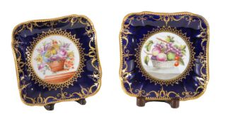 A pair of Coalport concave sided square dishes