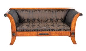 A pair of burr olivewood and upholstered sofas
