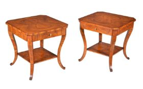 A pair of burr olivewood occasional tables