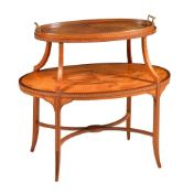 A Sheraton Revival satinwood and marquetry inlaid two tier etagere