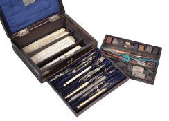 ϒ A rosewood and brass bound cased composite set of drawing and painting instruments and equipment