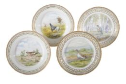 A set of four modern Royal Copenhagen ornithological plates