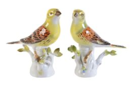 A pair of Meissen models of yellow hammers