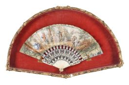 A printed and hand tinted paper and carved bone fan in Louis XVI taste