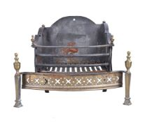A wrought iron and brass mounted firegrate in George III style