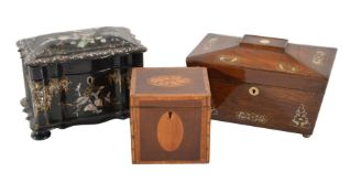ϒ A Victorian rosewood and mother of pearl inlaid tea caddy