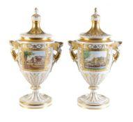 A pair of Potschappel Dresden (VEB Sächsische Porzellan-Manufaktur) topographical urns and covers