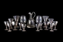 A modern Venetian pale-straw tint glass part table service