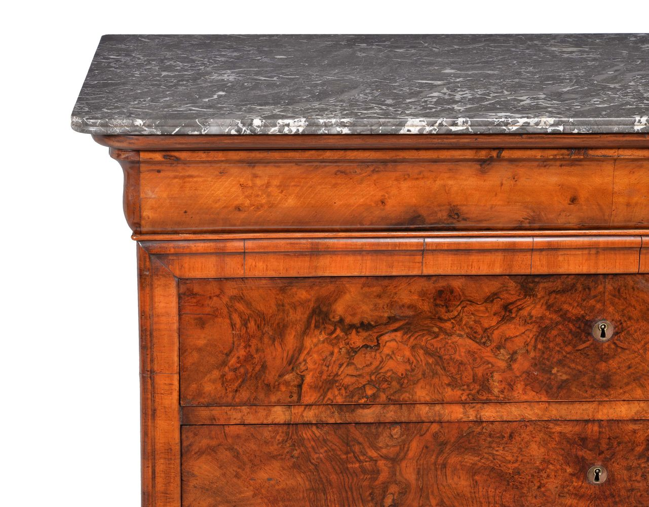 Lot 240 - A Louis Philippe walnut and marble topped commode