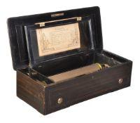 ϒ A Swiss rosewood and simulated rosewood musical box, S. Troll Fils