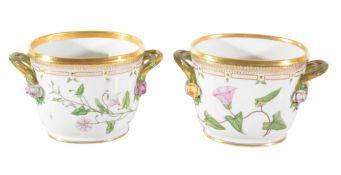 A pair of modern Royal Copenhagen Flora Danica oval jardinières
