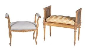 A Giltwood and upholstered window seat or dressing stool, in Louis XVI style