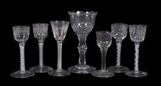 An assortment of 18th century English drinking glasses