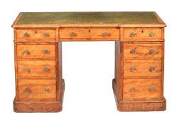 A Victorian satinbirch twin pedestal desk