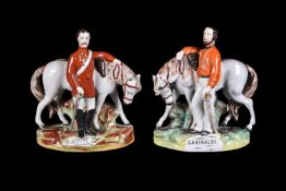 A Staffordshire equestrian group of Giuseppe Garibaldi (1807 -82) of Thomas Parr type