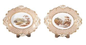 A pair of Staffordshire porcelain oval dishes