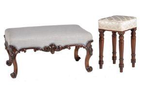 ϒ An early Victorian rosewood and upholstered centre stool