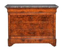 A Louis Philippe walnut and marble topped commode