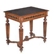 ϒ An Italian walnut and certosina inlaid side table