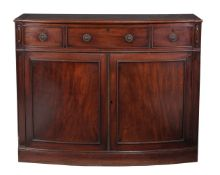 A Regency mahogany bowfront side cabinet