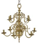 A cast and turned brass six light chandelier in Anglo-Dutch early 18th century taste