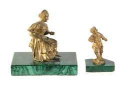 Two Russian gilt bronze and malachite mounted figures