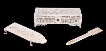 ϒ A Cantonese ivory pierced casket and cover