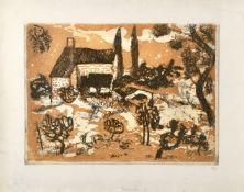 λ André Bicât (1909-1996), Tuscan Farm II (Ochre)