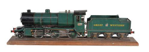 A vintage model of a 2 ½ inch gauge live steam Great Western Railway 2-6-0 Class 4300 tender locomot