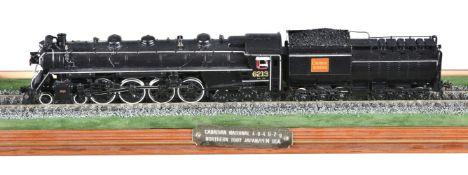 A HO gauge brass model of a Canadian National Rail Northern Class 4-8-4 U-2-g tender locomotive No 6