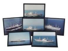 Collection of twenty seven colour and black and white photographs of ships