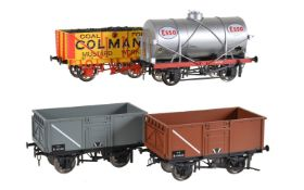 A collection of twenty-five gauge 1 open goods wagons and tankers