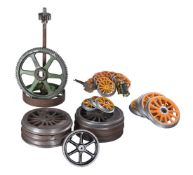 Collection of live steam locomotive firing tools and sundry locomotives wheels